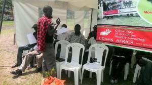 GCOMS Kenya Convener David Otieno while releasing the Kenyan military spending report at Freedom Corner Nairobi