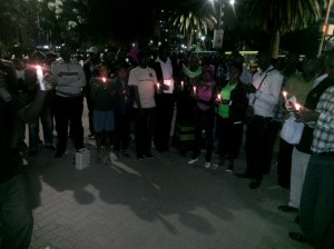 Kenyans hold a vigil in solidarity with Burundi People on Friday 2 October at Tom Mboya Monument in Nairobi